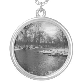 Snow Along James River Grayscale Silver Plated Necklace