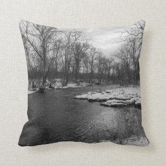 Snow Along James River Grayscale Throw Pillow