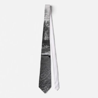 Snow Along James River Grayscale Tie
