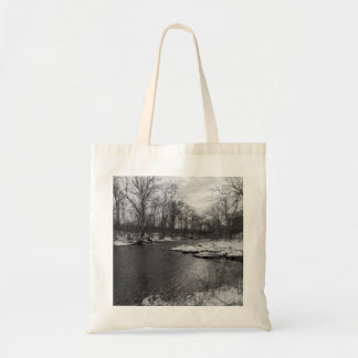 Snow Along James River Grayscale Tote Bag