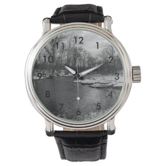 Snow Along James River Grayscale Wrist Watch