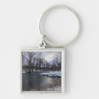 Snow Along James River Keychain