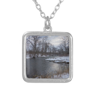 Snow Along James River Silver Plated Necklace