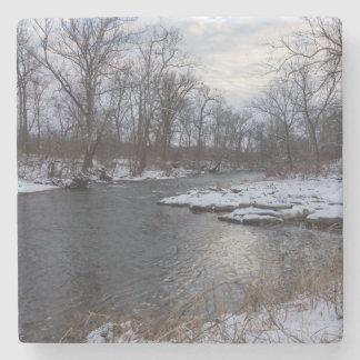 Snow Along James River Stone Coaster