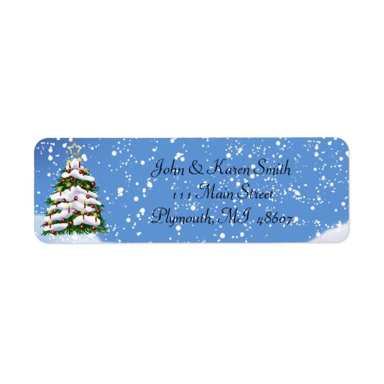 Snow and Christmas Tree Address Label
