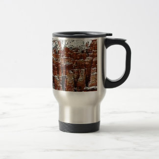 snow and ice in rock formationsf travel mug