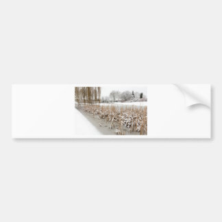 Snow and ice on water of pond bumper sticker
