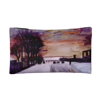 Snow and sunset cosmetic bag