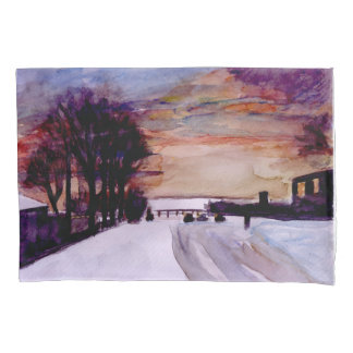 Snow and sunset pillowcase. pillowcase