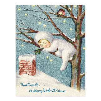 """SNOW BABY"" VINTAGE CHRISTMAS EVE POSTCARD"