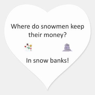 Snow Bank joke Heart Sticker