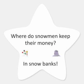 Snow Bank joke Star Sticker