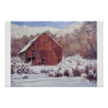 Snow Barn in the Mountains- poster