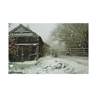Snow Battered Farm Building Canvas Print