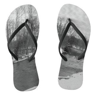 Snow Beauty James River Grayscale Flip Flops