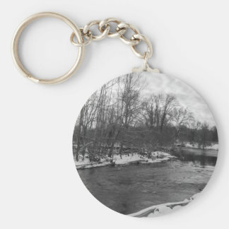 Snow Beauty James River Grayscale Keychain