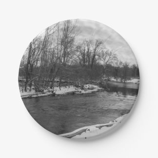 Snow Beauty James River Grayscale Paper Plate
