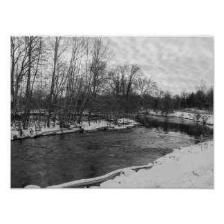 Snow Beauty James River Grayscale Poster