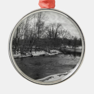 Snow Beauty James River Grayscale Silver-Colored Round Ornament
