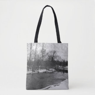 Snow Beauty James River Grayscale Tote Bag