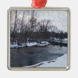 Snow Beauty James River Silver-Colored Square Ornament