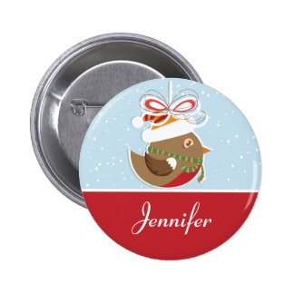 Snow Bird Christmas Party Name Badge | Name Tags 2 Inch Round Button