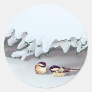 SNOW BIRDS by SHARON SHARPE Classic Round Sticker