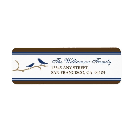 Snow Birds Holiday Return Address Labels (navy)