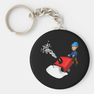 Snow Blower Basic Round Button Keychain