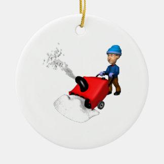 Snow Blower Ceramic Ornament