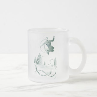 Snow Boarding Frosted Glass Coffee Mug