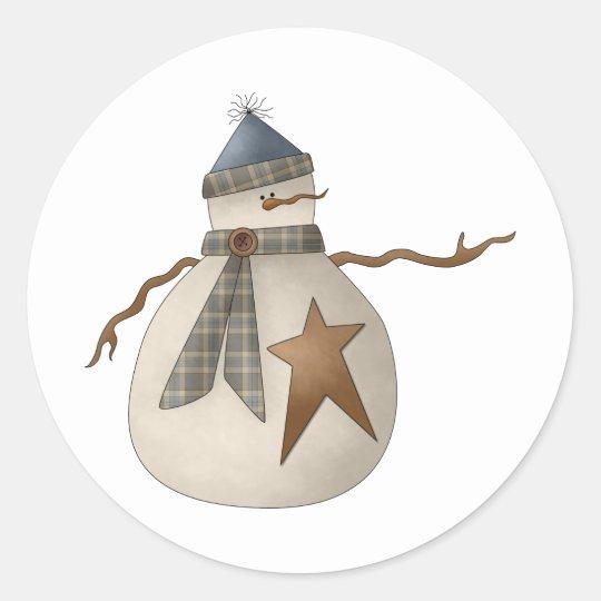 Snow Bobbins · Snowman with Star Classic Round Sticker
