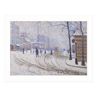 Snow, Boulevard de Clichy, Paris, 1886 Postcard