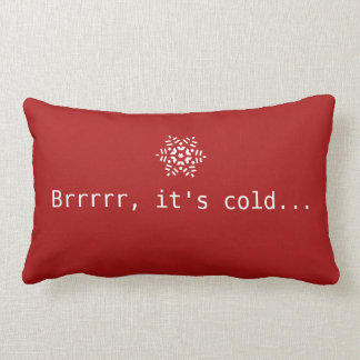 Snow Brrrrr It's Cold Winter Red Cozy Red & White Lumbar Pillow