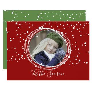 Snow Bubbles Christmas Wreath Photo Card