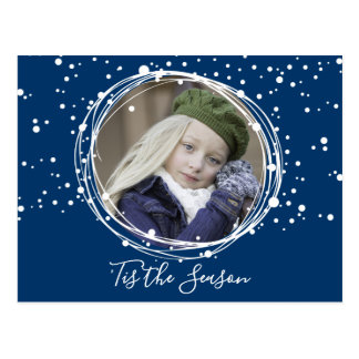 Snow Bubbles Christmas Wreath Photo Postcard