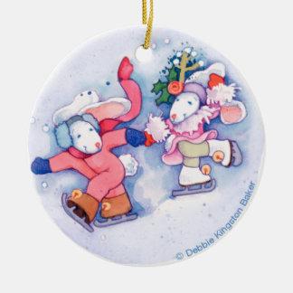 Snow Bunnies Ceramic Ornament