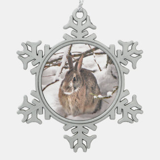 Snow Bunny Snowflake Pewter Christmas Ornament
