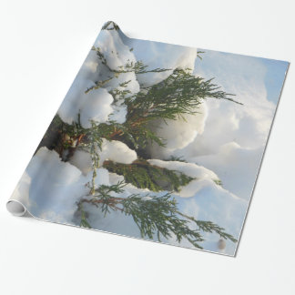 Snow Buried Evergreen Wrapping Paper