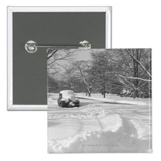 Snow capped car on street B&W 2 Inch Square Button