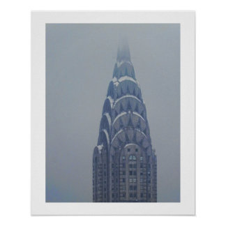 Snow Capped Chrysler Building after a storm Poster