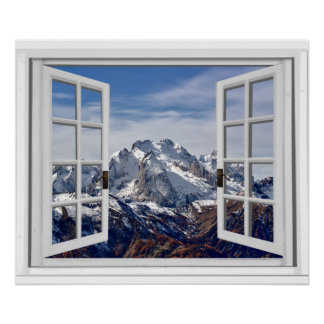 Snow Capped Mountain Peaks Fake Window Poster