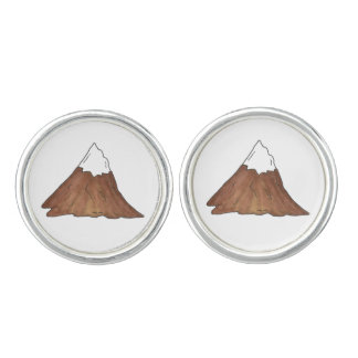 Snow Capped Mountain Pine Tree Sun Camp Outdoor Cufflinks