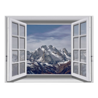 Snow Capped Mountains Fake Window 3D Poster