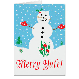 """Snow Cat"" Merry Yule Greeting Card"