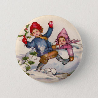 Snow Children Christmas Button