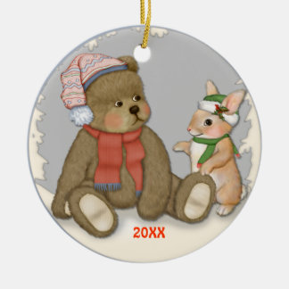 Snow Christmas Teddy Ceramic Ornament