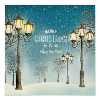 Snow Clad Trees,Street Lamps Christmas & New Year Poster