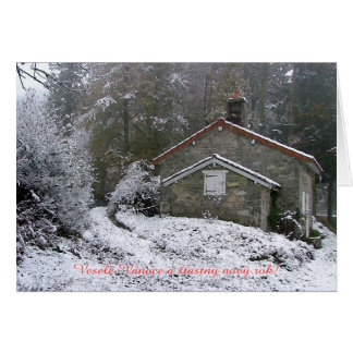Snow cottage Novy rok Card