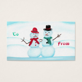 Snow Couple Waving Hi, To, From, holiday gift tags